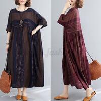 ZANZEA Women Short Sleeve T-Shirt Dress Babydoll Sundress Printed Maxi Dress NEW