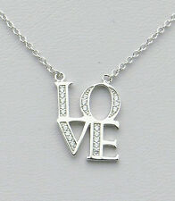 .925 Solid Sterling Silver CZ Block Letters LOVE Necklace