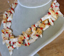 Multi-Strand Golden CITRINE QUARTZ Gemstone & RED Crystal Necklace Earrings Set