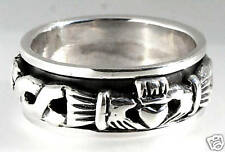 .925 Sterling Silver 925 CLADDAGH MENS Irish Ireland SPIN Spinning Ring SIZE 10