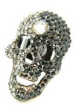 New Black White Crystal Skull Cocktail Ring Adjustable Size Gothic Halloween