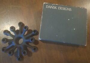 Dansk Black CAST IRON TINY TAPER CANDLE HOLDER~Spider Design~Made in Denmark NOS