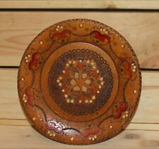 Vintage hand made pyrography wood wall hanging plate
