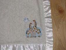 Cream Giraffe Dove Lovey Baby Blanket Satin 2 Giraffes Bird Branch Off White