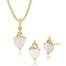 Parure con diamanti e gemme bianchi a cuore