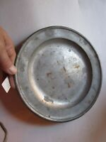 """9"""" Antique Colonial Period Pewter Plate, SCARCE HALLMARKED, c.1780, Gift"""