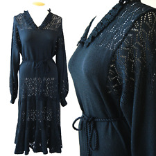 Vtg 70s Miss JoAnn black Crochet boho Maxi Cocktail Party goth wedding Dress L