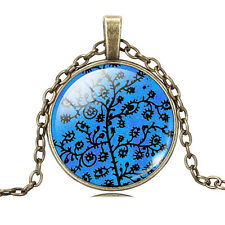 Bronze Tree of Life Glass Cabochon Pendant Necklace, Sacred Tree, TL53