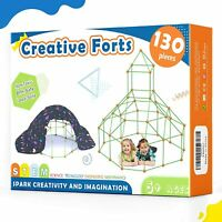 130pcs Kids Fort Building Kit with Bag Creative Fort Toy for 5,6,7 Years