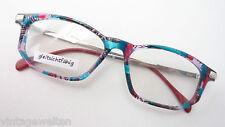 Brille Brillenfassung bunt grün schwarz silber mehrfarbig rechteckig neu Gr L