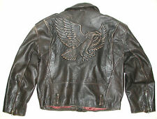 Men's Brown Leather Golden Eagle Motorcycle Biker Jacket
