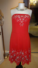 FAB TRIBE RED MESH & SILVER SEQUIN EMBROIDERED MEXICAN PARTY SKATER DRESS Sz M