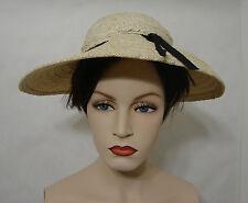 Vintage James Galanos White Horsetail Braided Straw Hat with Black Ribbon Trim