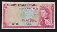 MALTA ------ 10  SHILLINGS  1967/1968 ------ F -------