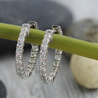 1.00 Ct Round Cut Diamond In 10k White Gold In & Out Side Hoop Earrings