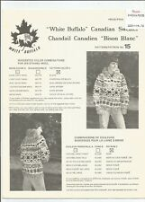 Vintage WHITE BUFFALO #15 Canadian Chandail Sweater His or Hers sz36-46 SCARCE