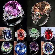 Woman Fashion Jewelry 925 Silver Huge Ruby&Sapphire Cocktail Wedding Ring Sz6-10