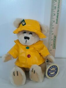 Brass Button Fully Jointed Collectible Bear 1996 Harper In Yellow Rain Coat &Cap