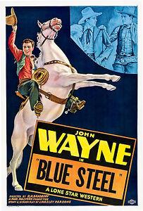 Old Vintage Movie Film Poster, John Wayne, Blue Steel, HD Print / Canvas
