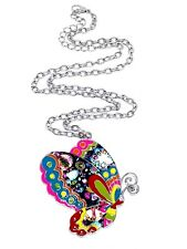 Emaille Schmetterling Anhänger Halskette Schmuck Boho lustig Hippie ethnisch