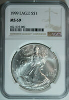1999 Silver American Eagle Dollar / NGC MS69 / .999 Pure
