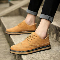 Retro British Style Men's Oxfords Wing Tip Brogues Lace Up Loafers Dress Shoes