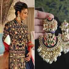 Indian Bollywood Latest Chandbali Pearl Kundan Jhumki Earrings Wedding Jewelry