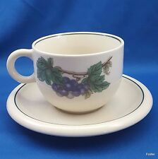 Epoch Wholesome Coffee Tea Cup and Saucer Cream Stoneware Fruit and Leaves 8 Oz