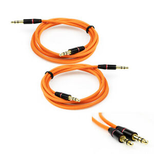 2X 3.5MM AUX AUXILIARY STRAIGHT AUDIO CABLE ORANGE FOR LUMIA 1320 Z10 Z30 DROID