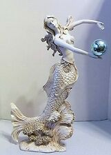 "MERMAID STATUE 15"" TALL DETAILED, HOLDING AN IRIDESCENT BALL, UNMARKED"