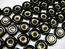 12 Jet Black Metallic Gold Chunky Czech Coin Beads 15mm