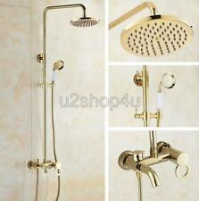 Luxury Gold Color Brass Wall Mounted Rain Shower Faucet Set Tub Mixer Tap Ugf414