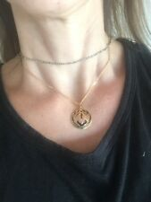 Vintage goldtone Cloisonne Deco Pink🌺 pendant necklace Enamel 80s Estate 5
