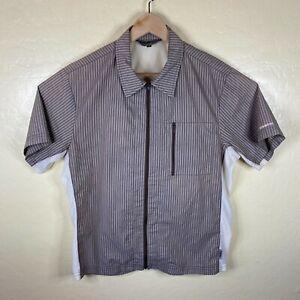 Club Ride Full Zip Cycling Shirt Jersey Mens Medium Brown Striped Pocket *