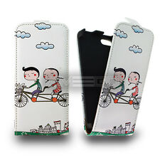 Design Bicycle Graphic Prints Flip leather case for smart phone Samsung HTC Sony