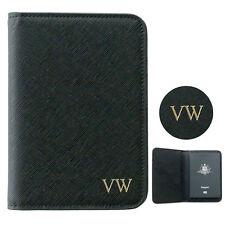 Olivia & Co. Personalised Monogrammed Saffiano Black Leather Passport Holder
