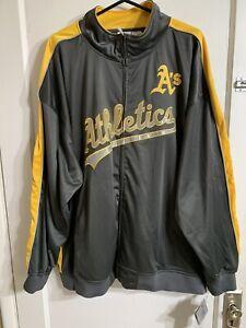NEW Oakland A's Athletics Majestic Big & Tall Men Track Jacket 4XL Baseball Gray
