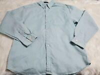 Alan Flusser Mens Medium Green 100% Linen Button Up Shirt Long Sleeve T-19