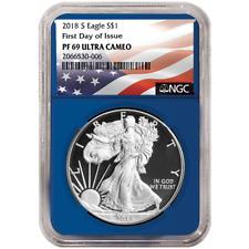 2018-S Proof $1 American Silver Eagle NGC PF69UC FDI Flag Label Blue Core