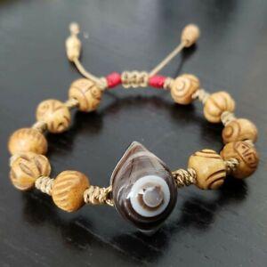 Handmade Black Datura Beaded Bracelet Agate Evil Eye Dzi