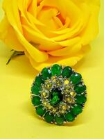 Natural Green Chrome Diopside, Aventurine & Peridot 925 Sterling Silver Ring 7.5