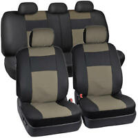 Black & Beige Synthetic Leather Seat Covers for Car SUV Auto Two Tone Style 9pc