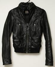 MACKAGE Black Leather Hidden Hood Hooded Moto Motorcycle Biker Jacket Coat XXS