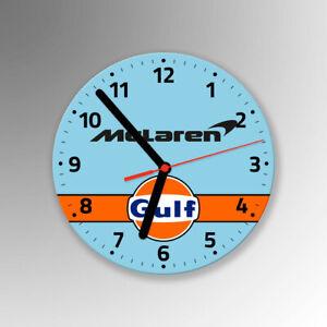 McLaren Gulf F1 Formula 1 Glass Wall Clock