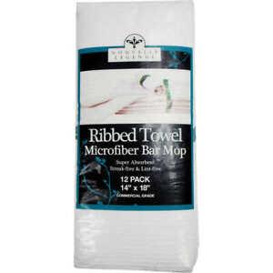 "Nouvelle Legende Ribbed Microfiber Green Stripe Bar Towel, 14""L x 18""W, 12 ct"