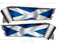 Pair Rolled Ripped Metal Effect St Andrew Scottish Saltaire Vinyl Car Stickers