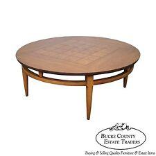 Lane Round Burl Walnut Mid Century Coffee Table