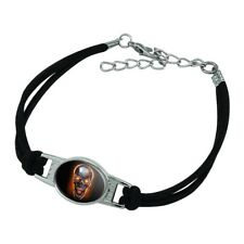 Suede Leather Metal Bracelet Chrome Metal Flaming Skull Novelty
