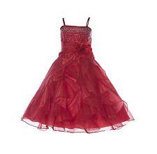 Wedding Organza Pleated Ruffled Flower Girl Dress Rhinestone Easter Pageant J120