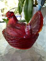 "LG Wright Cherry Red Amberina Lefton Glass Rooster Hen On Nest 6"" Candy Dish"
